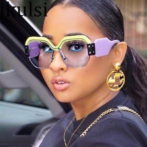 Sexy Rimless Oversized Sunglasses